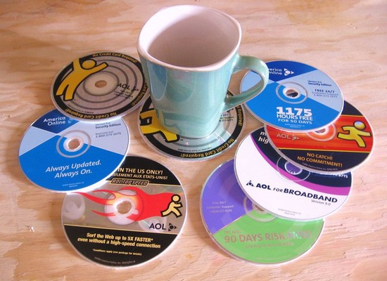 cds upcycled into coasters