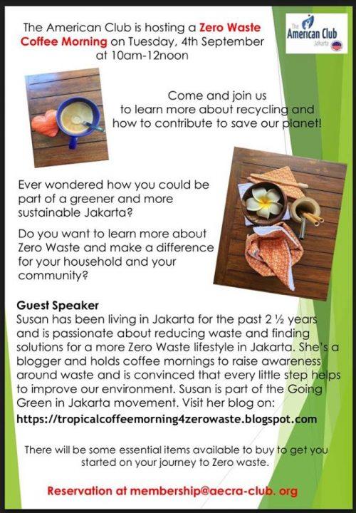 coffee morning for zero waste week at american club jakarta